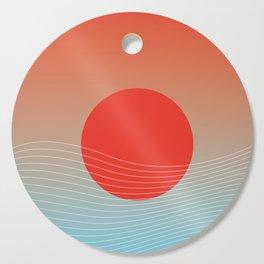 Red sun & white waves Cutting Board
