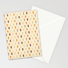 Ice Cream Pattern, Popsicles, Bomb Pops, Cones Stationery Cards