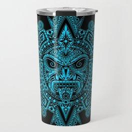 Ancient Blue and Black Aztec Sun Mask Travel Mug