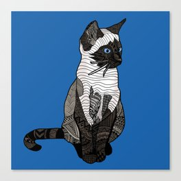 Siamese Cat Zentangle in Blue Canvas Print