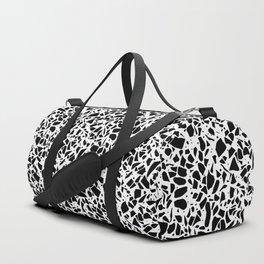 Terrazzo Spot 2 Black on White Duffle Bag