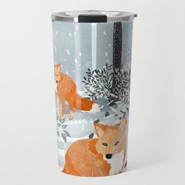 Fox Snow Walk Travel Mug