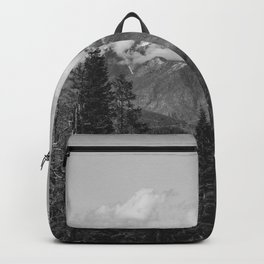 Snow Capped Sierras - Black and White Nature Photography Backpack