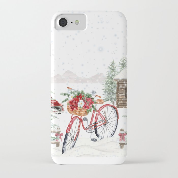 winter bicycle iphone case