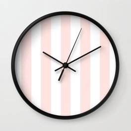 Misty rose pink - solid color - white vertical lines pattern Wall Clock