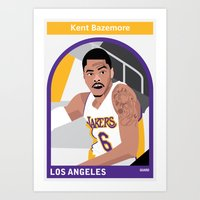 lakers Art Prints featuring Kent Bazemore by Everyplayerintheleague