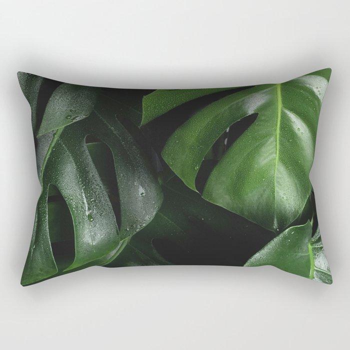 Tropical Monstera Leaves Wet Supple Foliage Dark Dense Forest Rectangular Pillow