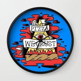 In Pizza We Crust - The Food Illuminati (Blue Backdrop) Wall Clock