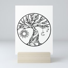 black and white tree of life with hanging sun, moon and stars I Mini Art Print
