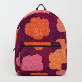 Layered Roses in Pink, Orange & Red on Dark Plum (pattern) Backpack