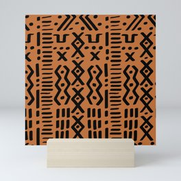 Mudcloth No. 1 in Ochre + Black Mini Art Print