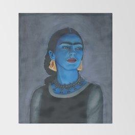Blue Frida Throw Blanket