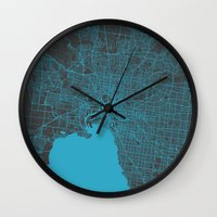 melbourne Wall Clocks featuring Melbourne map by Map Map Maps