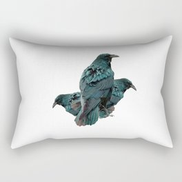 THREE CROWS/RAVENS  SOCIALIZING FROM SOCIETY6 Rectangular Pillow