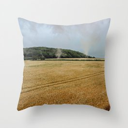 Countryside from a steam train Throw Pillow