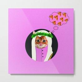 Khaleeji Weed Cat Metal Print