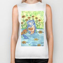 Sunflower Mermaid Biker Tank