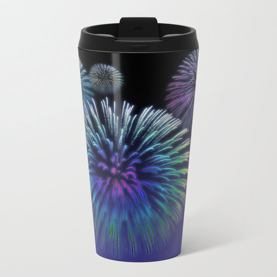 Colorful Fireworks Metal Travel Mug