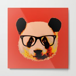 Panda with Nerd Glasses in Red Metal Print