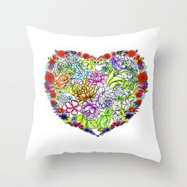 flowers in the heart Throw Pillow