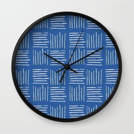 Geometrical grey lines pattern on blue Wall Clock