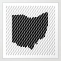 ohio state Art Prints featuring Ohio State Line by Beastie Toyz