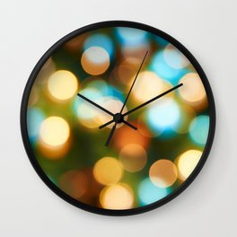 Abstract holiday Christmas background with blue and yellow Wall Clock