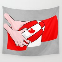 canada Wall Tapestries featuring Canada Rugby Flag by mailboxdisco