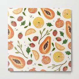 Fruits Pattern Fresh Summer Metal Print