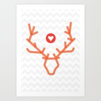 Heart of stag Art Print