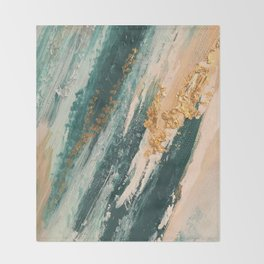 Teal and Gold Glam Abstract Painting Throw Blanket