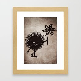 Evil Bug Gives Flower Framed Art Print