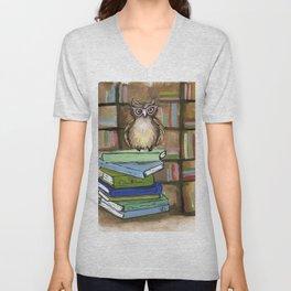 Owl the Librarian Unisex V-Neck