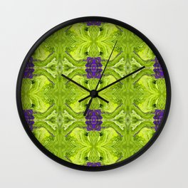 Acrylic Pour Pattern (Green/Purple) Wall Clock