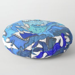 Blue Dinosaur Gradient Floor Pillow