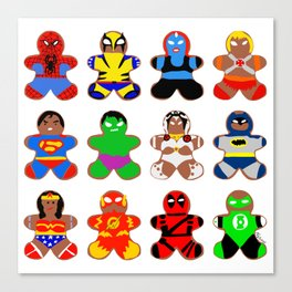 Superhero Gingerbread Man Canvas Print
