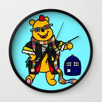 pooh Wall Clocks featuring Doctor Pooh by Murphis the Scurpix