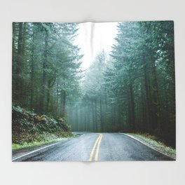 Forest Road Trip Throw Blanket