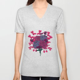 Pink and Purple Floral Bouquet Unisex V-Neck