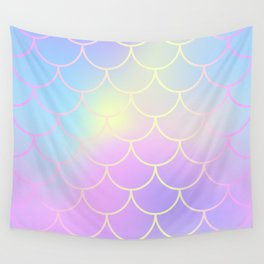 Pink Blue Mermaid Tail Abstraction Wall Tapestry