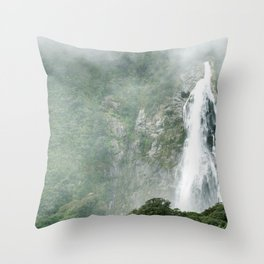 The Waterfalls at Milford Sound, New Zealand 01 Throw Pillow