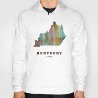 kentucky Hoodies featuring Kentucky state map modern by bri.buckley