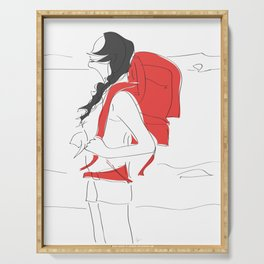 Backpacking Travel Girl Serving Tray