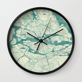 Stockholm Map Blue Vintage Wall Clock