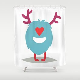 Emoji monster in love. Cute enamored cyclop vector illustration Shower Curtain