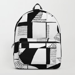 Black and White Typographical Fragmentation Cheater Quilt Backpack