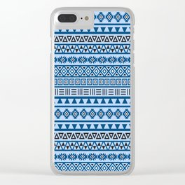 Aztec Influence Pattern II Blues Black White Clear iPhone Case