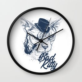 Angry sphinx cat with a tube - Bad Kitty Wall Clock