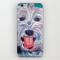 westie iPhone & iPod Skins featuring The Westie Kirby Dog Portrait by Barking Dog Creations Studio