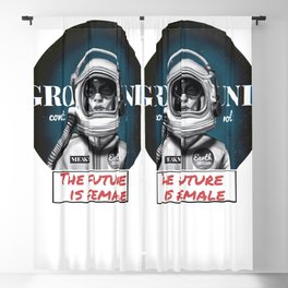The Future is female space astronaut girl Blackout Curtain
